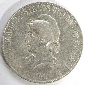 obverse: Brasile. 2000 Reis 1907. Ag 900.