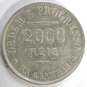 reverse: Brasile. 2000 Reis 1907. Ag 900.