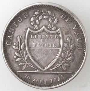 obverse: Svizzera-Vaud.Franco 1845.Ag.