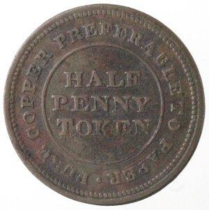 obverse: Canada. Nova Scotia. Halfpenny Token 1813. Ae.