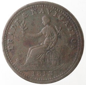 reverse: Canada. Nova Scotia. Halfpenny Token 1813. Ae.