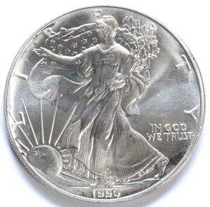 reverse: USA. Dollaro 1990. Oncia. Ag. FDC.