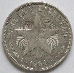 reverse: Cuba. Peso 1934. Ag 900.
