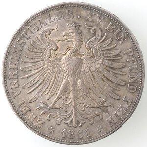 reverse: Germania. Francoforte. Città libera. Doppio Tallero 1861. Ag.