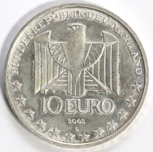 obverse: Germania. 10 Euro 2002. Ag.