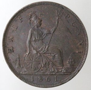 reverse: Gran Bretagna. Vittoria. 1837-1901. 1/2 Penny 1861. Ae.