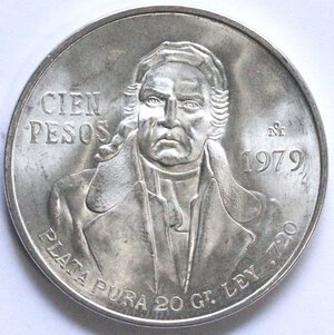 reverse: Messico. 100 Pesos 1979. Ag.