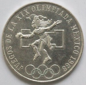 reverse: Messico. 25 Pesos 1968. Ag.