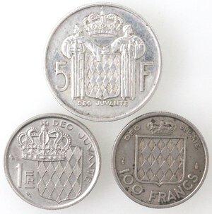 reverse: Monaco. Ranieri III. Lotto di 3 monete.Il 5 franchi è in Ag.