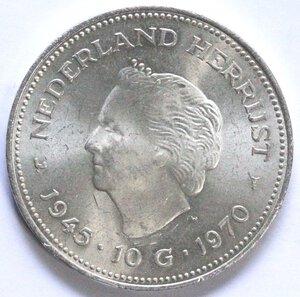 reverse: Olanda. Giuliana. 1948-1980. 10 Gulden 1970 Liberazione. Ag.