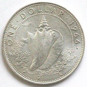 reverse: Bahamas. Dollaro 1966. Ag 800.