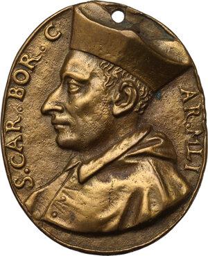 obverse: San Carlo Borromeo (1538-1584).. Medaglia ovale, XVI sec