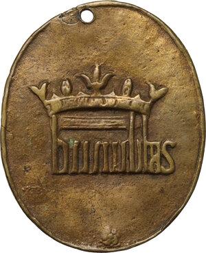 reverse: San Carlo Borromeo (1538-1584).. Medaglia ovale, XVI sec
