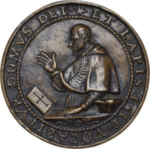 obverse: Luigi Capponi (1583 - 1659), cardinale, arcivescovo e bibliotecario.. Medaglia fusa 1619 per la posa della prima pietra della Chiesa di Santa Maria in Lacrimosa di Bologna