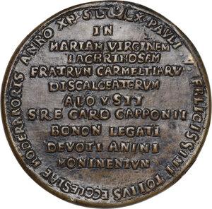 reverse: Luigi Capponi (1583 - 1659), cardinale, arcivescovo e bibliotecario.. Medaglia fusa 1619 per la posa della prima pietra della Chiesa di Santa Maria in Lacrimosa di Bologna