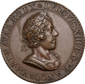 obverse: Luigi XIII (1610-1643). Medaglia 1628, per il terzo mandato da Prevosto dei mercanti di Parigi di Nicolas de Bailleul