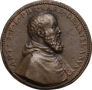 obverse: Antoine Perrenot de Granvelle (1516-1586),  vescovo di Arras, arcivescovo di Malines e viceré del Regno di Napoli. Medaglia s.d