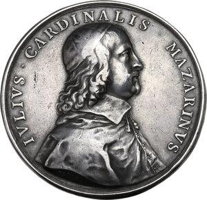 obverse: Giulio Mazzarino (1602-1661), cardinale.. Medaglia per la Battaglia di Casale del 1630