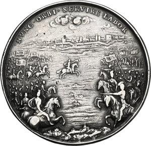 reverse: Giulio Mazzarino (1602-1661), cardinale.. Medaglia per la Battaglia di Casale del 1630