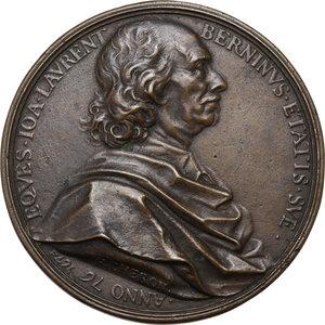 obverse: Gian Lorenzo Bernini (1598-1680), architetto, scultore, pittore.. Medaglia con bordo modanato 1674