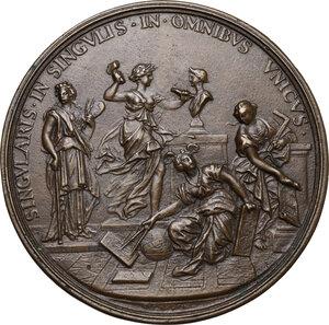 reverse: Gian Lorenzo Bernini (1598-1680), architetto, scultore, pittore.. Medaglia con bordo modanato 1674