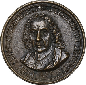 obverse: Pietro Andrea Andreini (1650-1729), patrizio, antiquario e collezionista. Medaglia con bordo modanato 1727