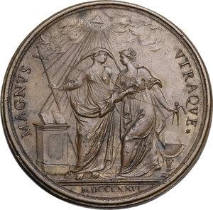 reverse: Vincenzo Riccati (1707-1775), teologo e matematico.. Medaglia 1776