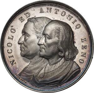 obverse: Nicolò (1326-1402) ed Antonio Zeno (...– 1405), navigatori veneziani.. Medaglia per il terzo Congresso Geografico Internazionale di Venezia del 1881