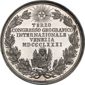 reverse: Nicolò (1326-1402) ed Antonio Zeno (...– 1405), navigatori veneziani.. Medaglia per il terzo Congresso Geografico Internazionale di Venezia del 1881