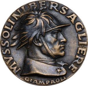 obverse: Benito Mussolini (1883-1945).. Medaglia A. X