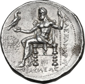 reverse: Kings of Macedon.  Alexander III  the Great  (336-323 BC). .  AR Tetradrachm, struck under Seleukos I Nikator. Babylon mint, c. 311-305 BC