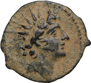 obverse: Syria, Seleucid Kings.  Antiochos VIII Epiphanes (Grypos) (121-96 BC).. AE 19.5 mm.Antioch mint. Dated SE 198 (115/4 BC)