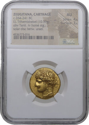 obverse: Zeugitania, Carthage.  First Punic War issue. EL Trihemishekel. Circa 264-241 BC