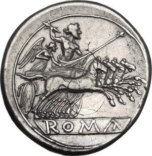 reverse: Anonymous. AR Quadrigatus, circa 225-214