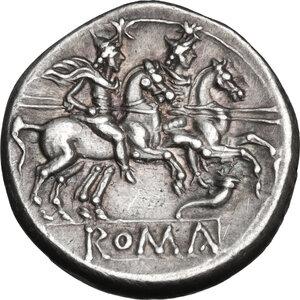 reverse: Cornucopiae (first) series.. AR Denarius, c. 207 BC