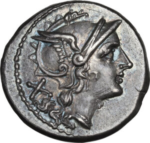 obverse: Spearhead (second) series.. AR Denarius, c. 209 BC, South East Italy