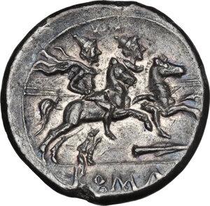 reverse: Spearhead (second) series.. AR Denarius, c. 209 BC, South East Italy