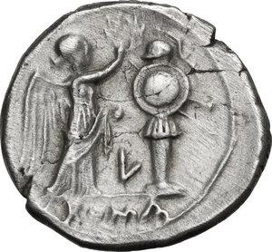 reverse: L series.. AR Victoriatus, Luceria mint, c. 214-212 BC