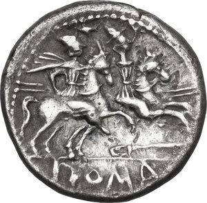 reverse: Knife (first) series. AR Denarius, c. 209 BC, uncertain mint in Spain