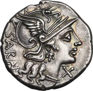 obverse: M. Atilius Saranus.. AR Denarius, 148 BC