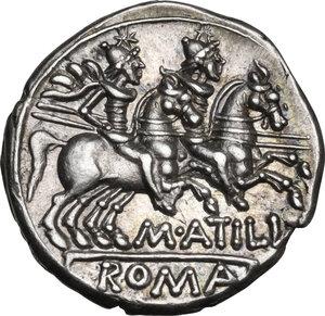 reverse: M. Atilius Saranus.. AR Denarius, 148 BC