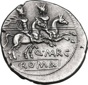 reverse: Q. Marcius Libo. . AR Denarius, 148 BC