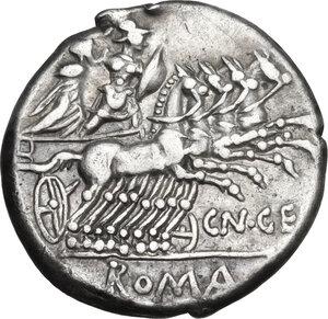 reverse: Cn. Gellius.. AR Denarius, 138 BC