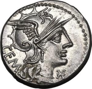 obverse: M. Aburius M.f. Geminus.. AR Denarius, 132 BC