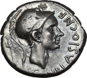 obverse: Cn. Blasio Cn. f.. AR Denarius, 112-111 BC