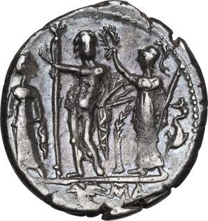 reverse: Cn. Blasio Cn. f.. AR Denarius, 112-111 BC