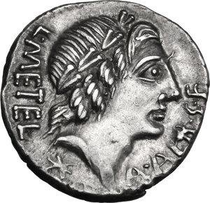 obverse: C. Poblicius Malleolus, A. Postumius Sp. f. Albinus and L. Metellus.. AR Denarius, 96 BC