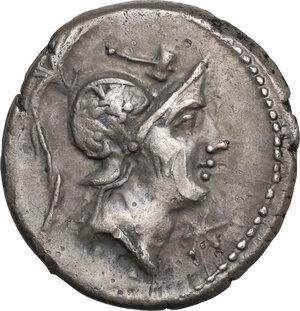 obverse: C. Poblicius Malleolus, A. Postumius Sp. f. Albinus and L. Metellus.. AR Denarius, 96 BC. D/ R/ Cr. 335/3b. B.(Poblicia) 6. AR. g. 3.93 mm. 18.00 R.  Superb old cabinet tone. About EF