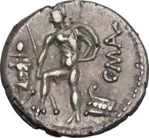 reverse: C. Poblicius Malleolus, A. Postumius Sp. f. Albinus and L. Metellus.. AR Denarius, 96 BC. D/ R/ Cr. 335/3b. B.(Poblicia) 6. AR. g. 3.93 mm. 18.00 R.  Superb old cabinet tone. About EF