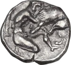 reverse: Southern Apulia, Tarentum. AR Diobol, circa 325-280 BC